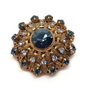 🆕Vintage West Germany Gold & Blue Rhinestone Pin